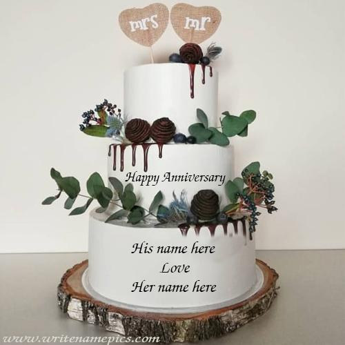 special Anniversary Cake with couple Name for online