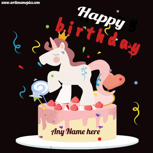 unicorn birthday cake with name edit