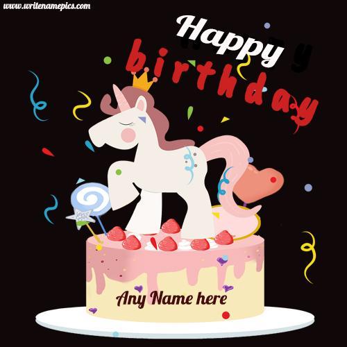 unicorn birthday cake with name edit