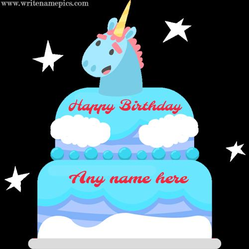 unicorn birthday cake with name
