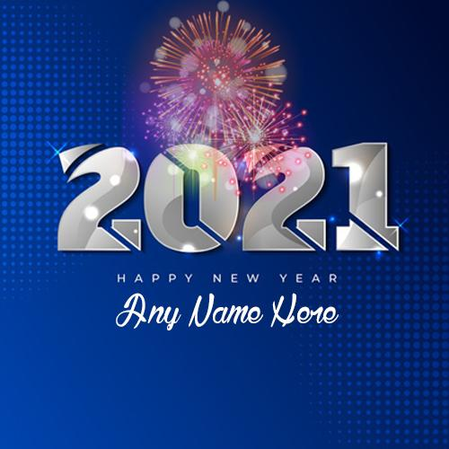 write a name on happy New Year 2021 card picture