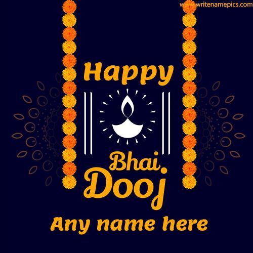 write a name on happy bhai dooj greeting card pic