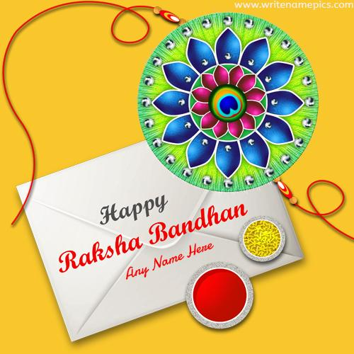 write a name on happy rakhi wishes card for brother
