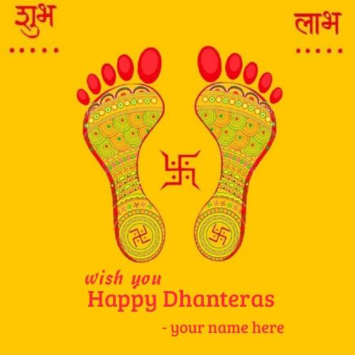 write name happy dhanteras footprints goddess lakshmi