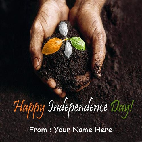 write name happy independence day greetings cards