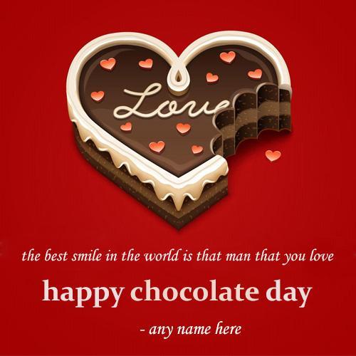 write name on beautiful love heart happy chocolate day greeting card