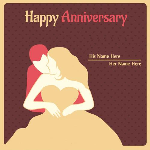 write name on happy anniversary beautiful couple wedding cards