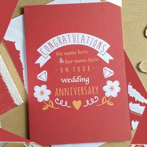 write name on happy anniversary wishes congratulations cards with couples name