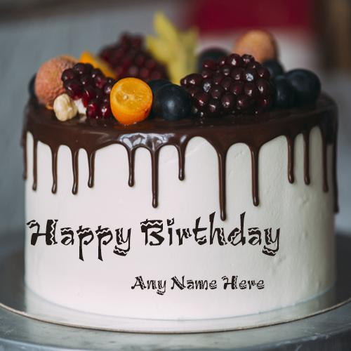 write name on happy birthday fruit cake with name edit