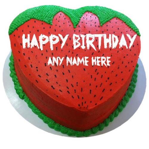 write name on happy birthday strawberry shape cake images