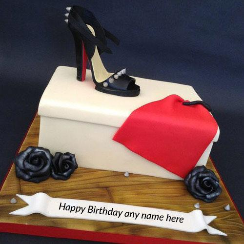 write name on happy birthday wishes cute shoe birthday cake pic