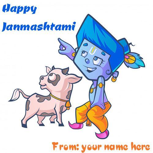 write name on happy janmashtami wishes load krishna pic