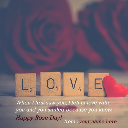 write name on happy rose day with name edit