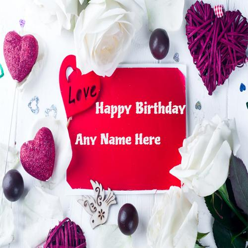 write name on love greeting birthday card for free