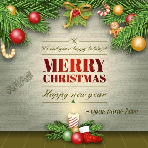 write name on merry christmas xmas 2018 pic