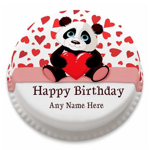 write name on panda Birthday cake with name edit
