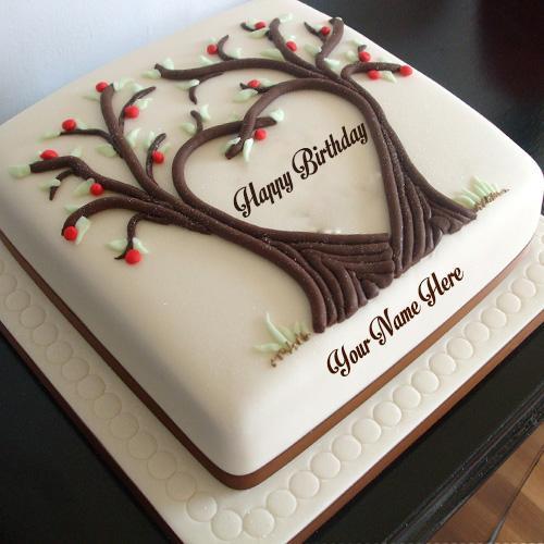 write name on tree heart shaped birthday cake images