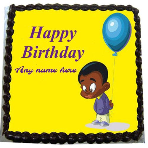 write name on yellow children birthday cake
