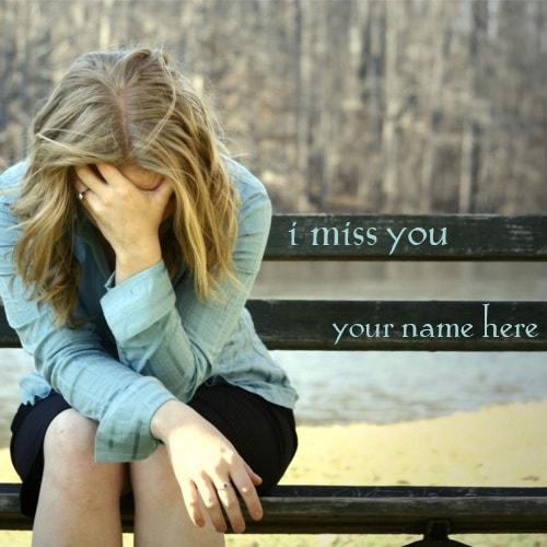 write name sad girl sitting on bench i miss you picture