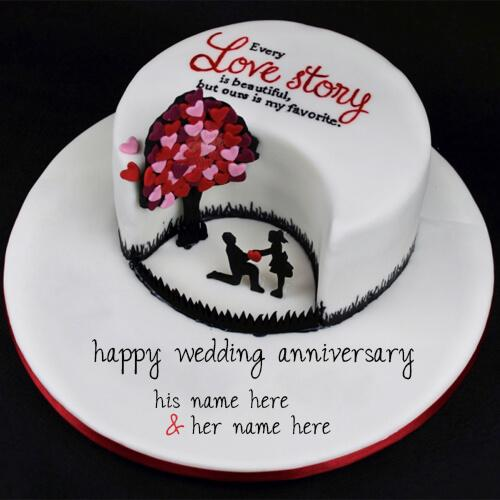 write your couple name on happy wedding beautiful anniversary cake