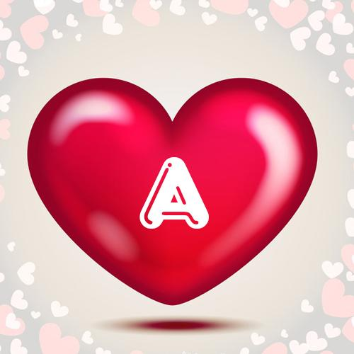 write your name alphabet on heart greeting card