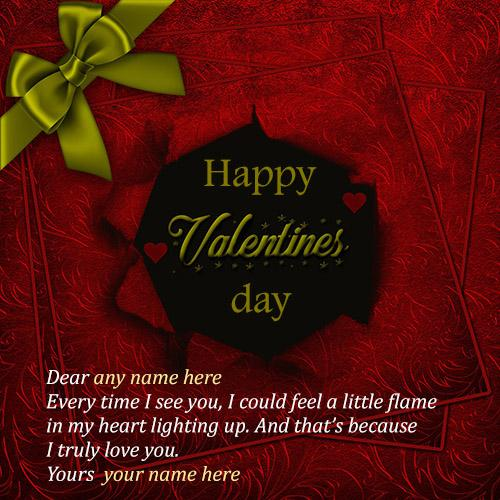 write your name on happy valentines day card
