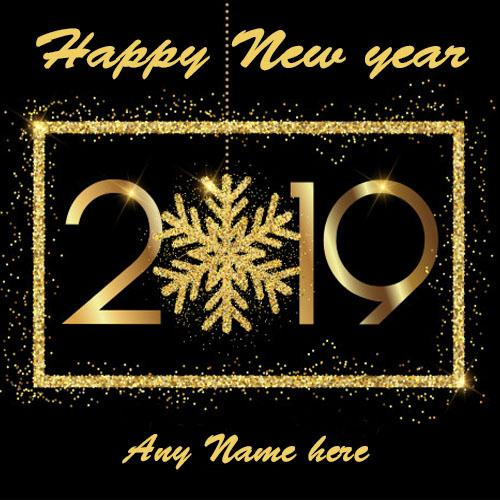 write your name on latest Happy New Year 2019 card