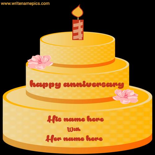 yellow anniversary cake with name edit