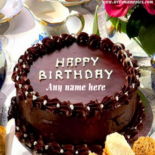 Amazing Chocolate Cake For Birthday Wishes With Name