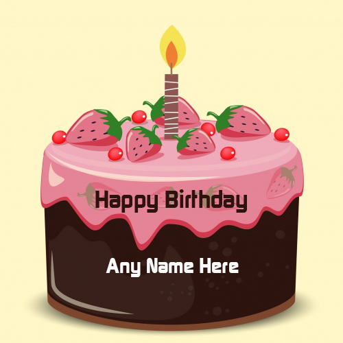 Amazing strawberry cake for Birthday Wishes With Name