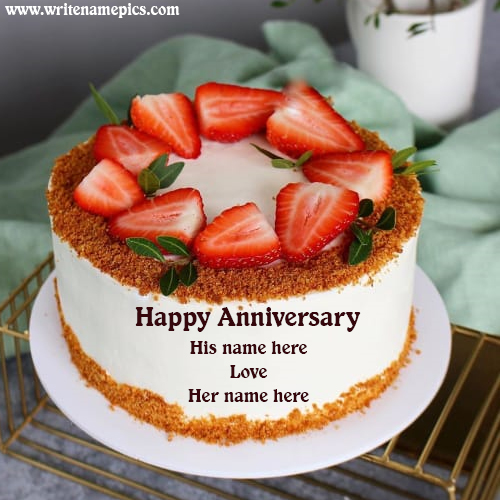 Anniversary Strawberry Cake Greeting Image with Name Edit