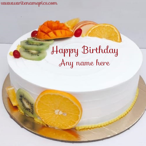 Beautiful Fruit Birthday Cake with Name Free Edit