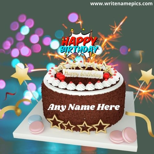 Beautiful Happy Birthday Chocolate Cake with Name