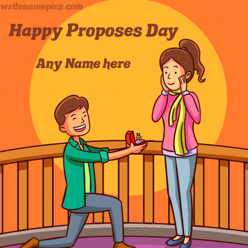 Beautiful Happy Propose Day Card With Name