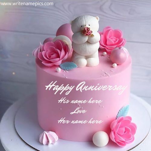 Beautiful Pink Rose and Teddy Anniversary Cake with Name