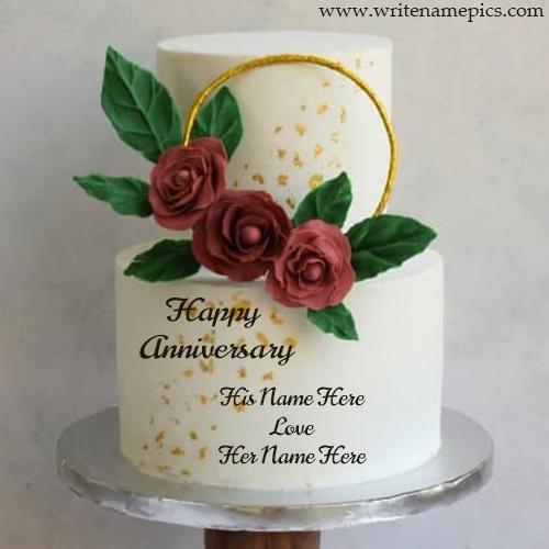 Beautiful White and Rose Anniversary Cake with Name