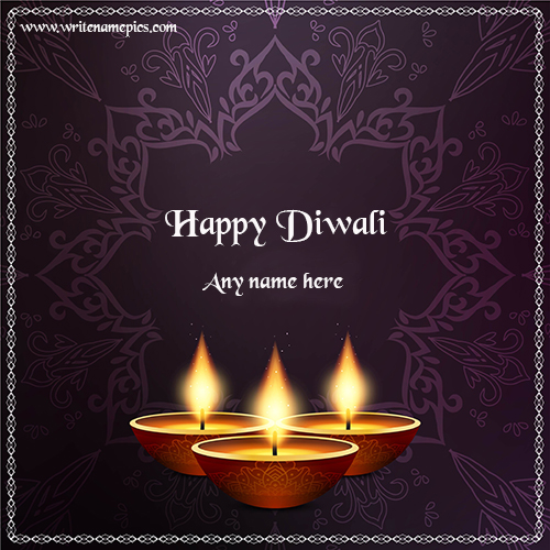 Best happy diwali wishes 2019 card with name pic