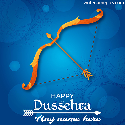 Create Happy Dussehra Greeting card with Name