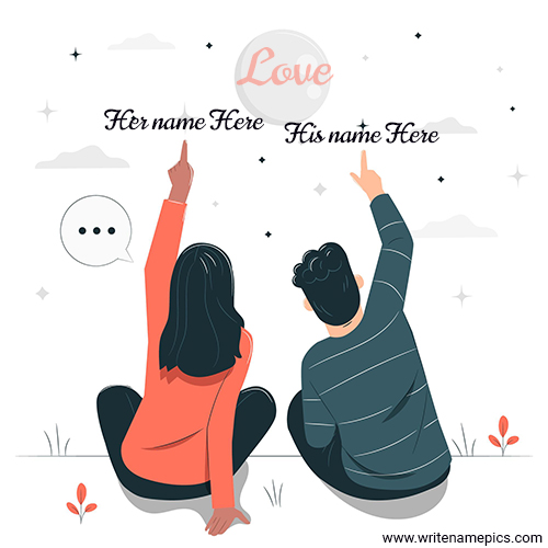 Cute love couple image card with couple name