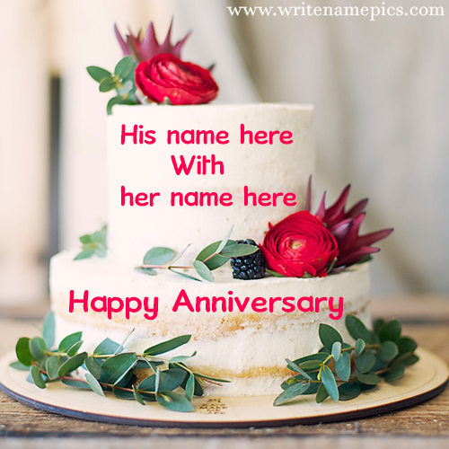 Double layer anniversary cake with couple name