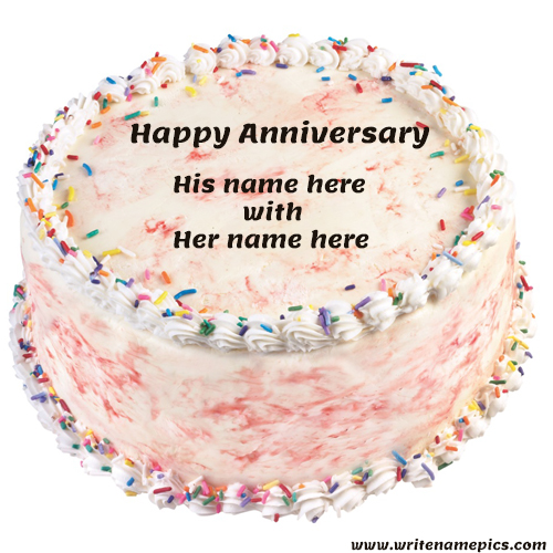 Free happy anniversary cake with name edit