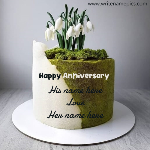 Green Garden Themed Anniversary Cake with Name Editor