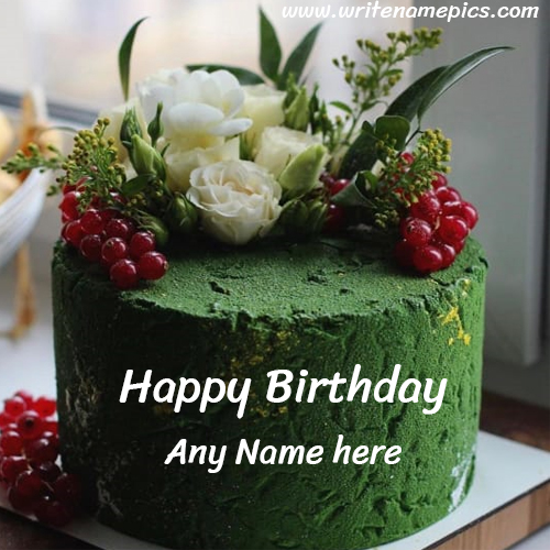 Greenly Decorated Happy Birthday Cake with Name