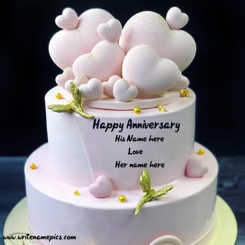 Happy Anniversary Cake with couple name creator online
