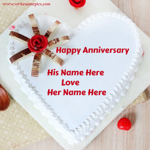 Happy Anniversary Romantic Heart Cake With couple Name