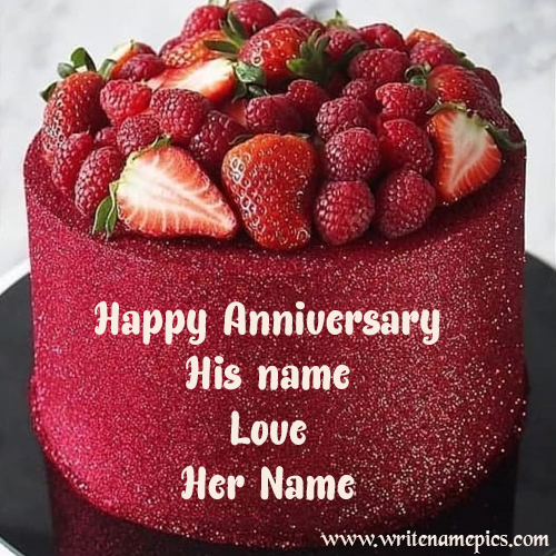 Happy Anniversary Strawberry Cake with name