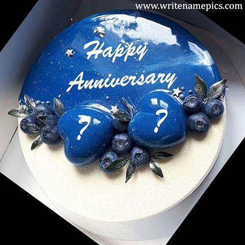 Happy Anniversary cake with couple Name Alphabet