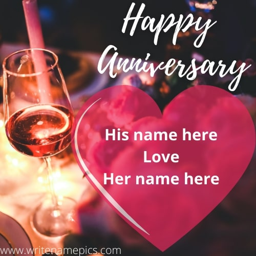 Happy Anniversary card with Name Edit Option Online