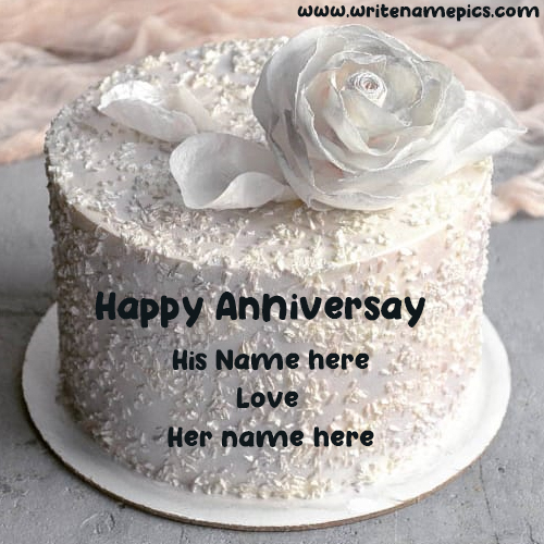 Happy Anniversary greeting Cake with couple Name
