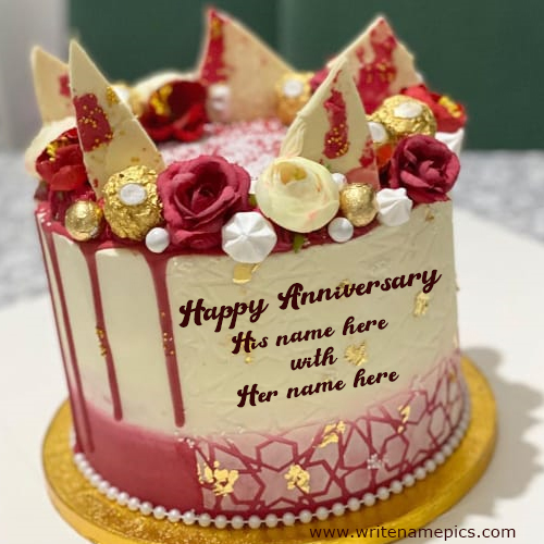 Happy Anniversary greeting image with Name